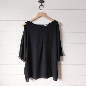 LOFT Black Cold Shoulder Flowy Blouse NWT Large